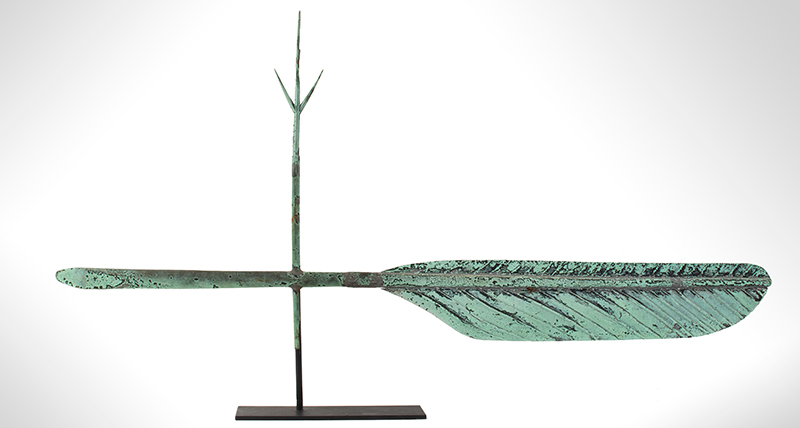 Quill Pen Weathervane, Likely A.L. Jewell & Co., Waltham, Massachusetts Original Surface, entire view