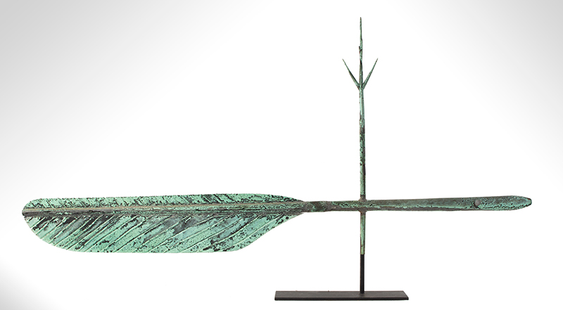 Quill Pen Weathervane, Likely A.L. Jewell & Co., Waltham, Massachusetts Original Surface, entire view 2