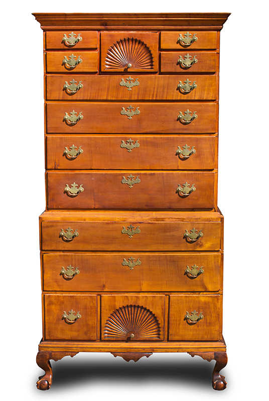 Chippendale Chest-on-Chest, Claw & Ball Feet, Fan Carved, New England, entire view 1