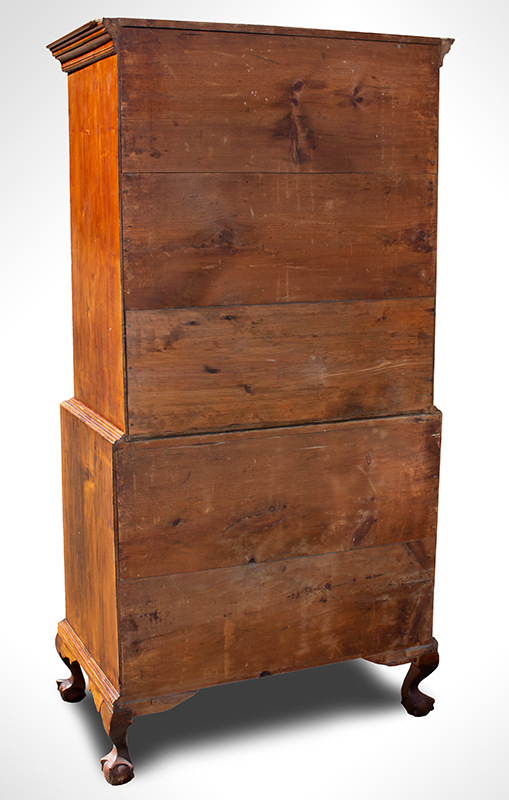 Chippendale Chest-on-Chest, Claw & Ball Feet, Fan Carved, New England, back view