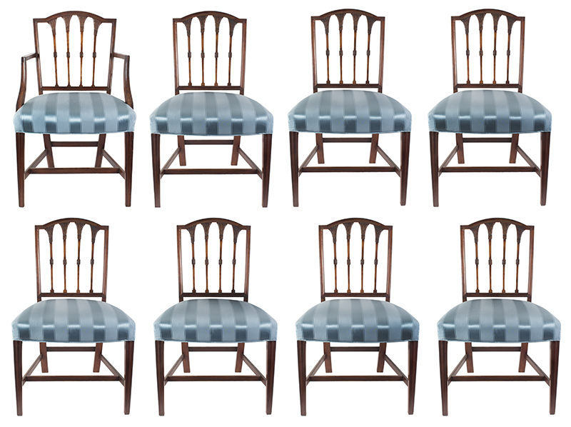Seven Federal Carved Side Chairs & One Armchair *Four Additional Chairs Available Salem, Massachusetts, set view