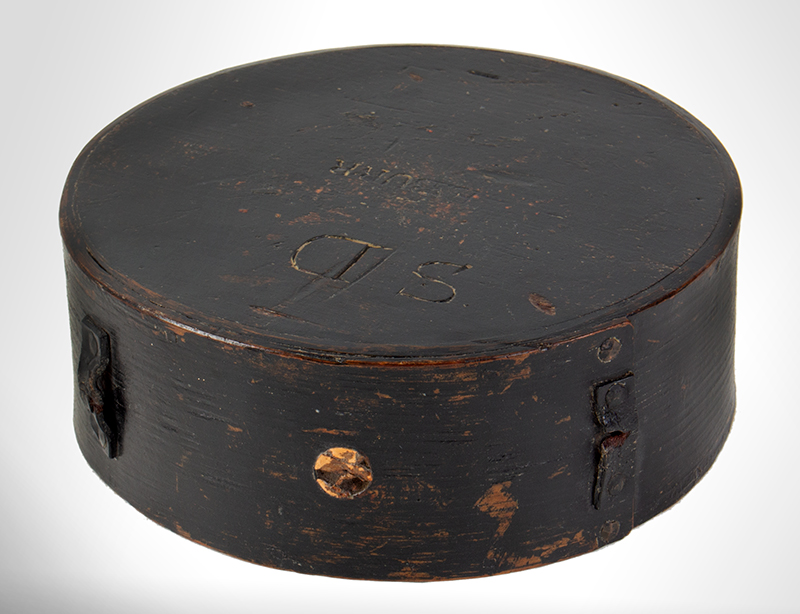 Canteen, Cheese Box, Original Black & Red Paint, Signed: BURR, Leather Sling Straps Militia… New England, entire view 2