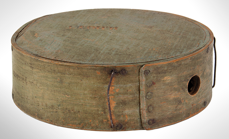 Cheesebox Canteen, War of 1812 Period, Painted Sage Green, New England, entire view 2