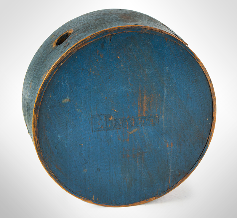 Cheesebox Canteen, War of 1812 Period, Painted Blue, Signed: E. Barrett New England, entire view 1