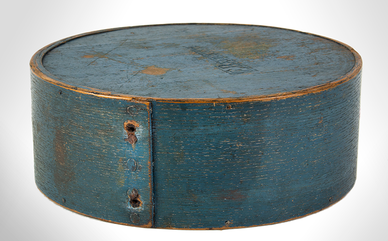 Cheesebox Canteen, War of 1812 Period, Painted Blue, Signed: E. Barrett New England, entire view 2