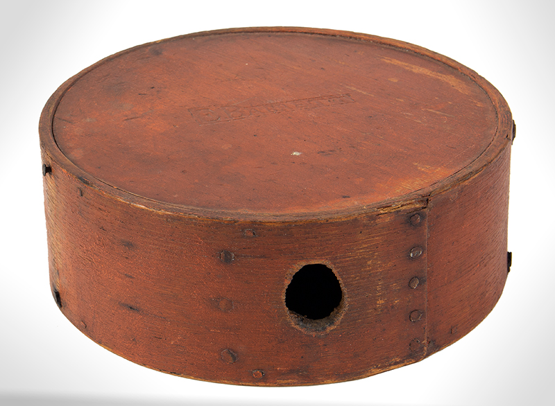 Canteen, Cheese Box, War of 1812, Original Red/Bittersweet Paint, Signed E. Barrett Militia… New England, entire view 2