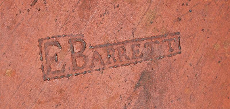 Canteen, Cheese Box, War of 1812, Original Red/Bittersweet Paint, Signed E. Barrett Militia… New England, detail view