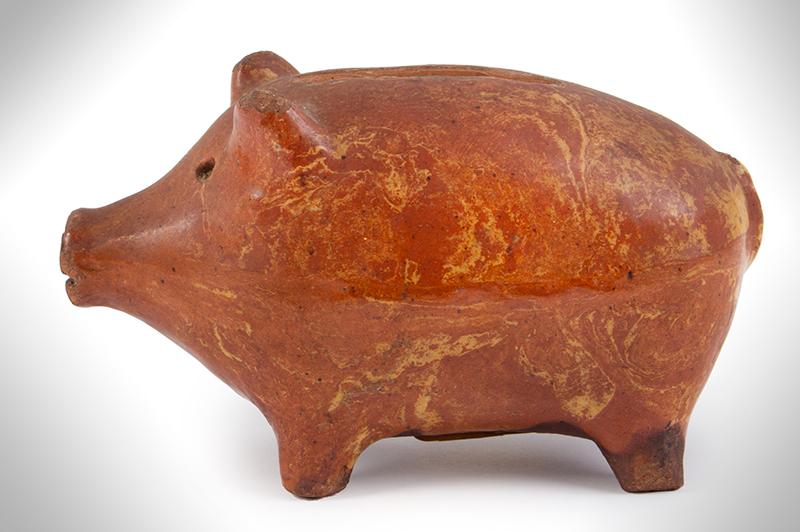 Rare Redware Folk Art Pig Still Bank, Piggy Bank Likely English, entire view 2