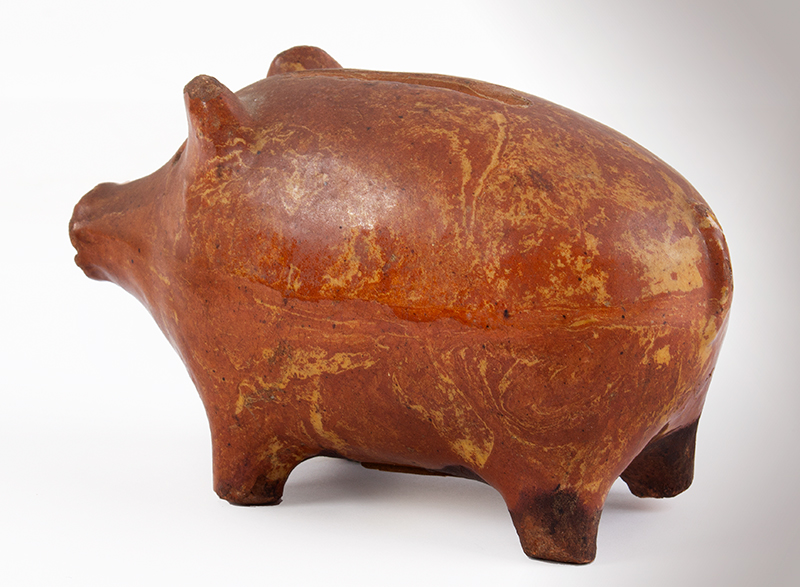 Rare Redware Folk Art Pig Still Bank, Piggy Bank Likely English, entire view 3