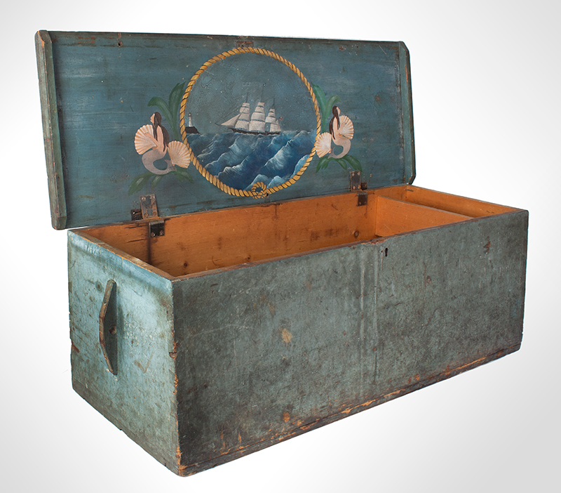 Sailors Sea Trunk, Chest, Underside of Lid is Decorated, Original Blue Paint & Beckets The trunk is branded: C.C. Dame [Schooner Charles C. Dame, Charles S. Grove, Captain], entire view