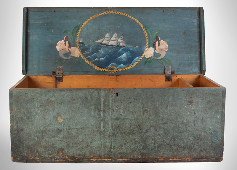 Sailors Sea Trunk, Chest, Underside of Lid is Decorated, Original Blue Paint & Beckets The trunk is branded: C.C. Dame [Schooner Charles C. Dame, Charles S. Grove, Captain], entire view 2
