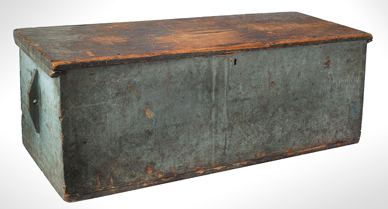 Sailors Sea Trunk, Chest, Underside of Lid is Decorated, Original Blue Paint & Beckets The trunk is branded: C.C. Dame [Schooner Charles C. Dame, Charles S. Grove, Captain], entire view 3