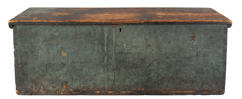 Sailors Sea Trunk, Chest, Underside of Lid is Decorated, Original Blue Paint & Beckets The trunk is branded: C.C. Dame [Schooner Charles C. Dame, Charles S. Grove, Captain], entire view 4