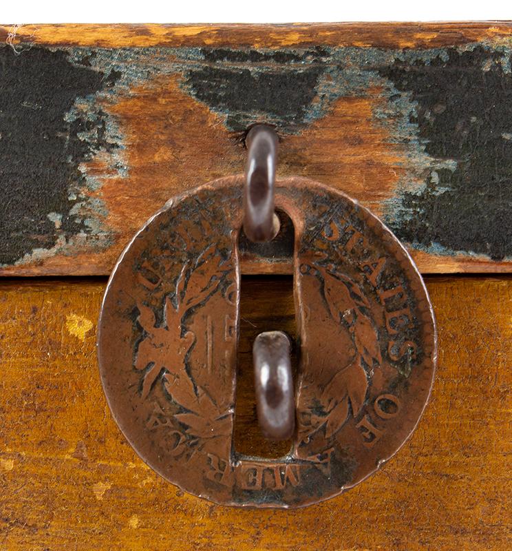 Folk Art, New England Decorated Rectangular Lidded Box, Original Paint Lock Hasp: 1816 Coronet Liberty Head Large Cent (copper), penny latch 1