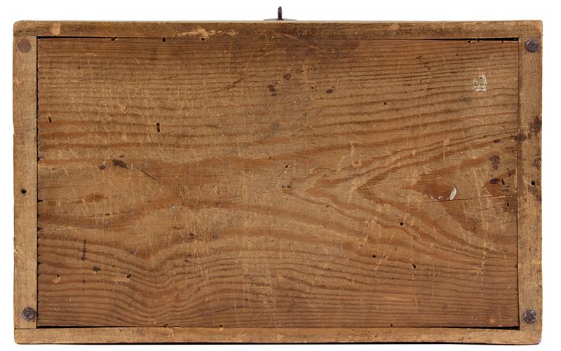 Folk Art, New England Decorated Rectangular Lidded Box, Original Paint Lock Hasp: 1816 Coronet Liberty Head Large Cent (copper), bottom view