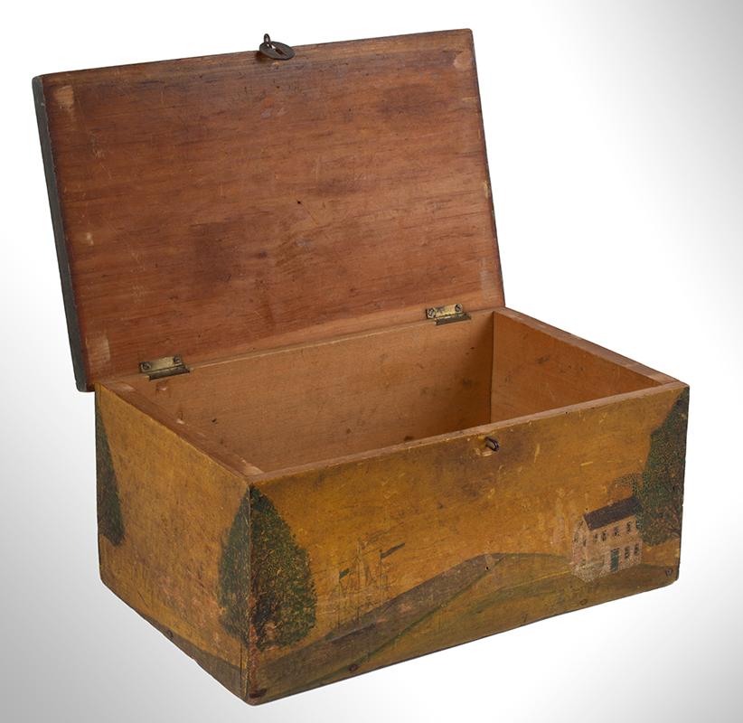 Folk Art, New England Decorated Rectangular Lidded Box, Original Paint Lock Hasp: 1816 Coronet Liberty Head Large Cent (copper), interior