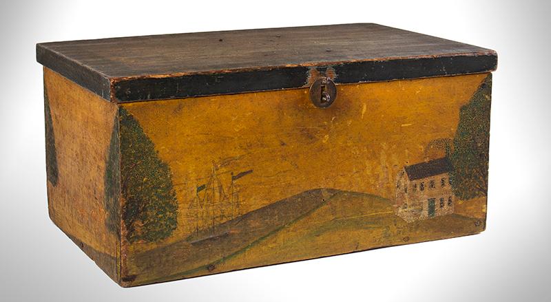 Folk Art, New England Decorated Rectangular Lidded Box, Original Paint Lock Hasp: 1816 Coronet Liberty Head Large Cent (copper), entire view 1