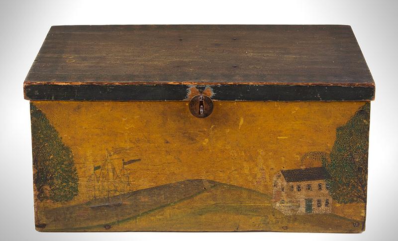 Folk Art, New England Decorated Rectangular Lidded Box, Original Paint Lock Hasp: 1816 Coronet Liberty Head Large Cent (copper), entire view 2
