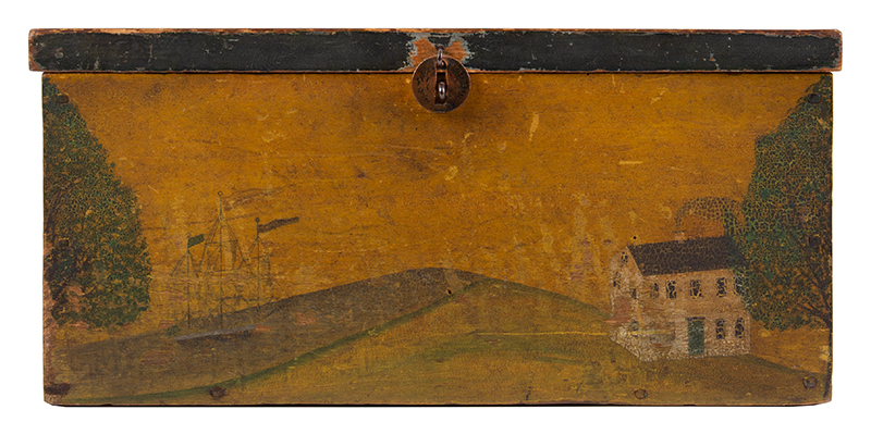 Folk Art, New England Decorated Rectangular Lidded Box, Original Paint Lock Hasp: 1816 Coronet Liberty Head Large Cent (copper), entire view 3