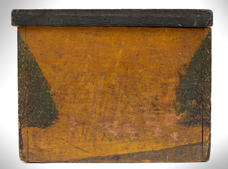 Folk Art, New England Decorated Rectangular Lidded Box, Original Paint Lock Hasp: 1816 Coronet Liberty Head Large Cent (copper), side view 1