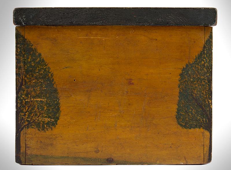 Folk Art, New England Decorated Rectangular Lidded Box, Original Paint Lock Hasp: 1816 Coronet Liberty Head Large Cent (copper), side view 2