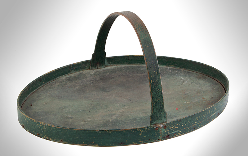 Oval Carrier with Handle, Tray, Original Green Paint, entire view 1