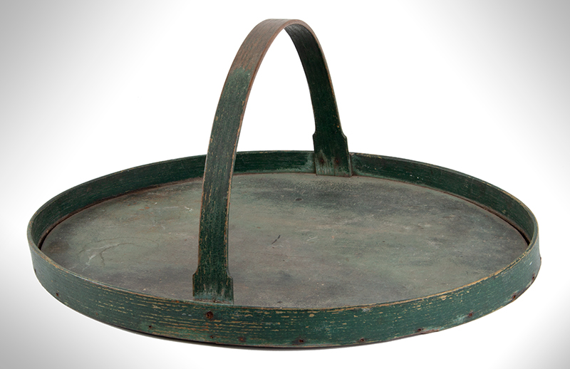 Oval Carrier with Handle, Tray, Original Green Paint, entire view 2