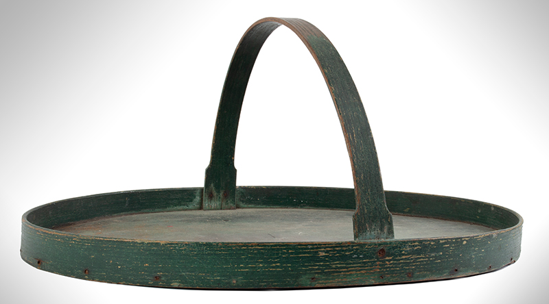 Oval Carrier with Handle, Tray, Original Green Paint, entire view 3