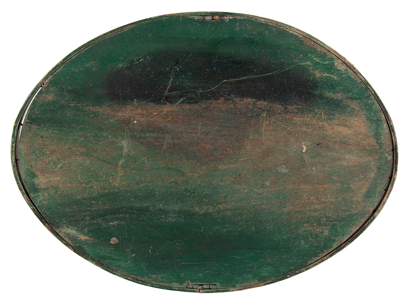 Oval Carrier with Handle, Tray, Original Green Paint, bottom view