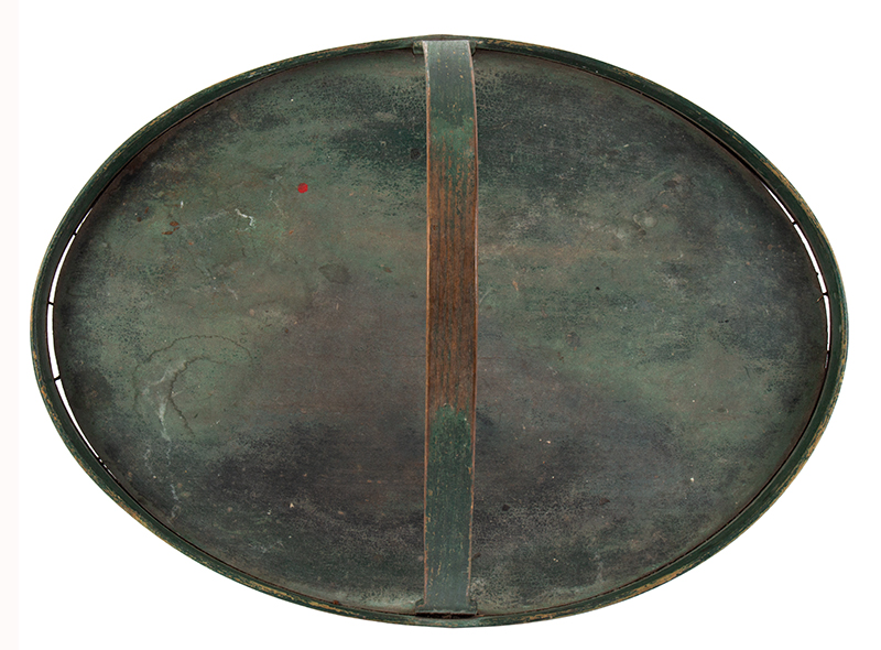 Oval Carrier with Handle, Tray, Original Green Paint, interior
