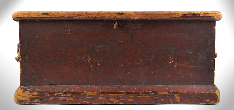 Small Nineteenth Century Sea Trunk, Heart Carved Beckets, Original Paint Possibly a child's of ladies trunk…, entire view 2