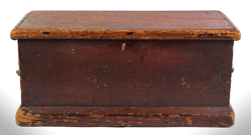 Small Nineteenth Century Sea Trunk, Heart Carved Beckets, Original Paint Possibly a child's of ladies trunk…, entire view 3