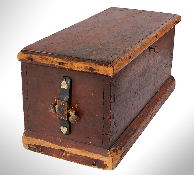 Small Nineteenth Century Sea Trunk, Heart Carved Beckets, Original Paint Possibly a child's of ladies trunk…, entire view 4