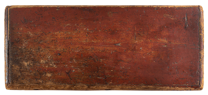 Small Nineteenth Century Sea Trunk, Heart Carved Beckets, Original Paint Possibly a child's of ladies trunk…, top view