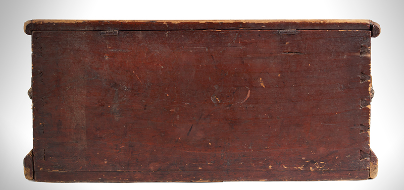 Small Nineteenth Century Sea Trunk, Heart Carved Beckets, Original Paint Possibly a child's of ladies trunk…, back view
