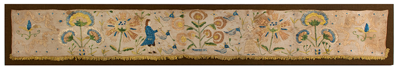 Eighteenth Century Bed Valance Side Panel, Silk Embroidery on Linen Hanging A Wedding Piece Featuring Bride and Groom, entire view