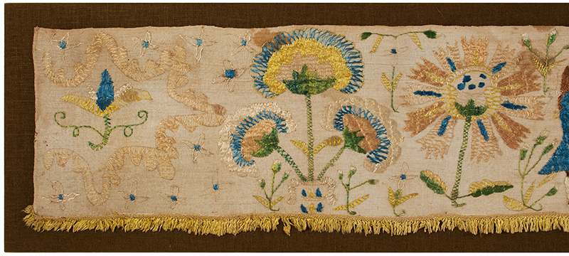 Eighteenth Century Bed Valance Side Panel, Silk Embroidery on Linen Hanging A Wedding Piece Featuring Bride and Groom, detail view 1
