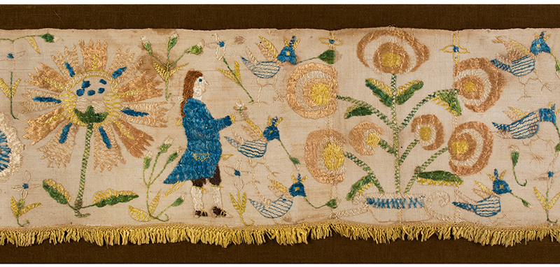 Eighteenth Century Bed Valance Side Panel, Silk Embroidery on Linen Hanging A Wedding Piece Featuring Bride and Groom, detail view 2