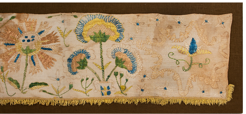 Eighteenth Century Bed Valance Side Panel, Silk Embroidery on Linen Hanging A Wedding Piece Featuring Bride and Groom, detail view 4