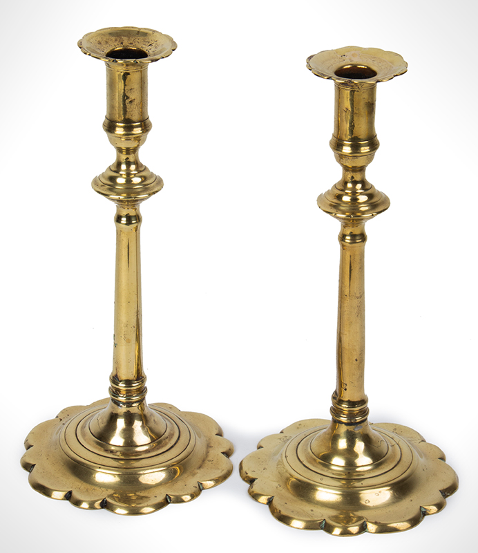 Pair, Queen Anne Candlesticks, Brass, Scalloped Bases and Bobeches, entire view 1