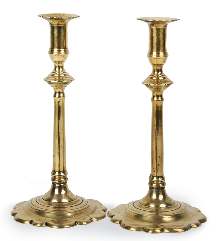 Pair, Queen Anne Candlesticks, Brass, Scalloped Bases and Bobeches, entire view 2