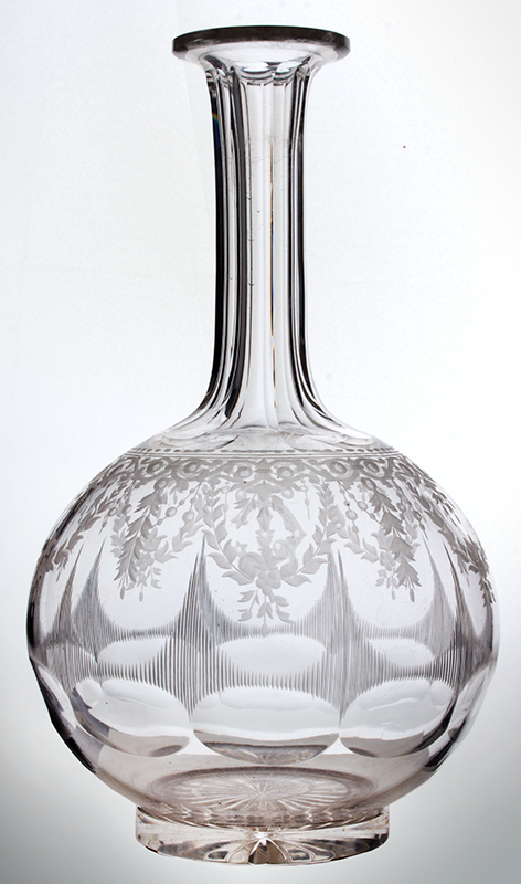 Antique, Colorless Glass Decanter, Fluted, Etched & Engraved & Groove Cut, entire view