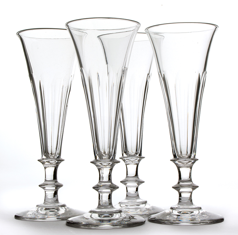 Antique, Colorless Blown Glass Champagne Flutes, Knopped, entire view