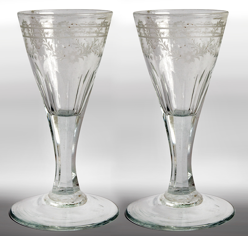 Antique, Colorless Blown Glass Cordials, Engraved, Cut, Etched, entire view