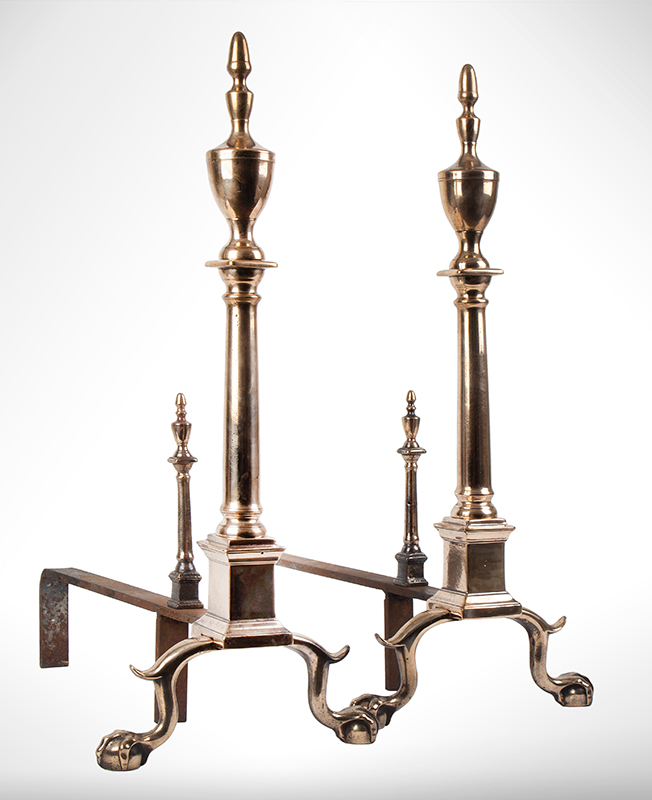 Andirons, Chippendale, Bell Metal, Urn Top, Claw & Ball Feet, & Tools Probably Philadelphia, entire view 1