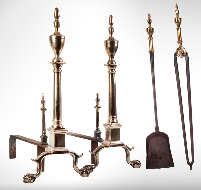 Andirons, Chippendale, Bell Metal, Urn Top, Claw & Ball Feet, & Tools Probably Philadelphia, entire view