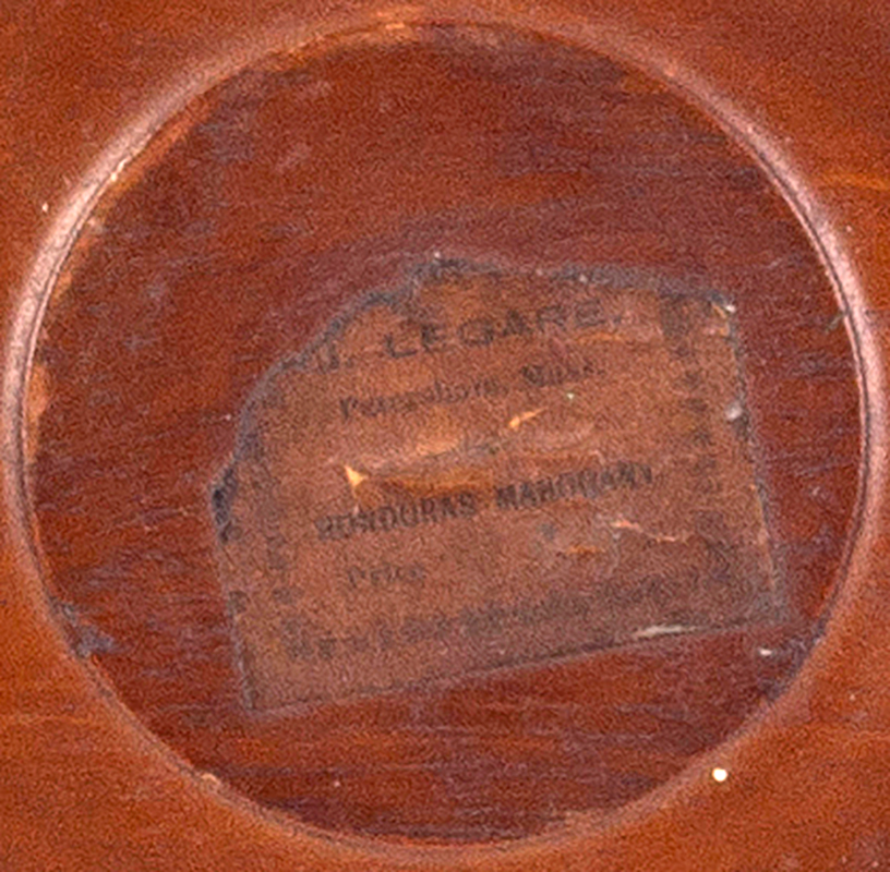 Dumbwaiter, Dished Top Serving Tray by G. Legare of Petersham, Massachusetts [labeled], label view