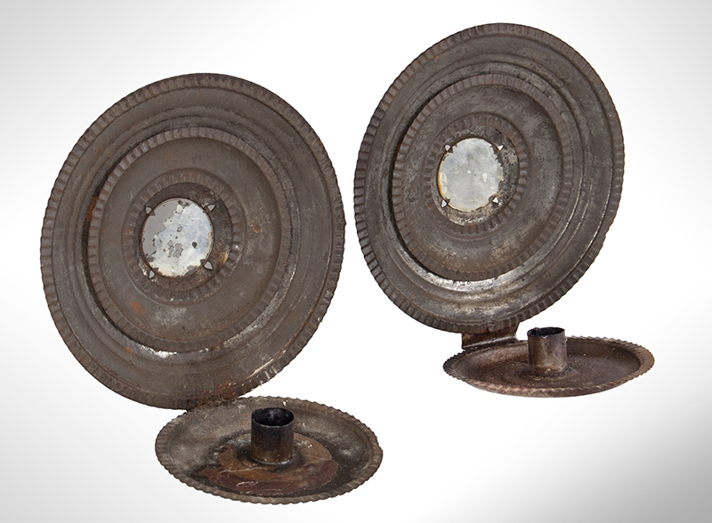 Pair of Round Candle Sconces, Concentric Circles, Mirror Centers American, entire view 2