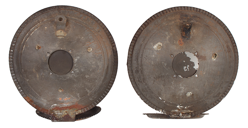 Pair of Round Candle Sconces, Concentric Circles, Mirror Centers American, entire view 3