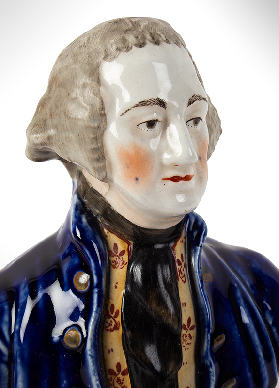 Staffordshire Pottery, Bust of George Washington, detail view